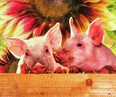 Pig Mixed Media - Piglet Playmates by Tina LeCour