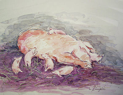 Painting - Piglets Nestle With Mama - Watercolor by Lynn Gimby-Bougerol