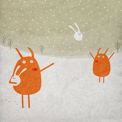Snow Digital Art - Pigs And Bunnies by Fuzzorama