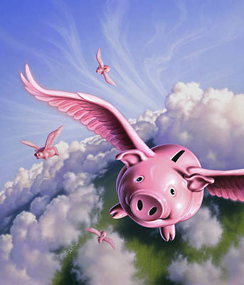 Coin Wall Art - Painting - Pigs Away by Jerry LoFaro
