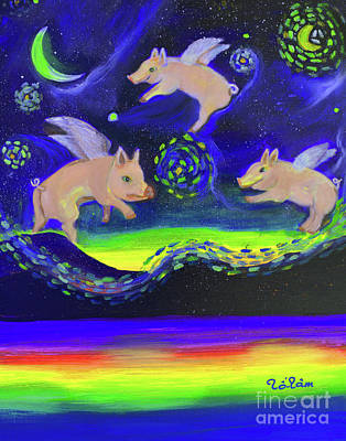 Pigs Flying Into Starry Night Original by To-Tam Gerwe