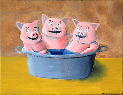 Piggies Painting - Pigs In A Tub by Winton Bochanowicz
