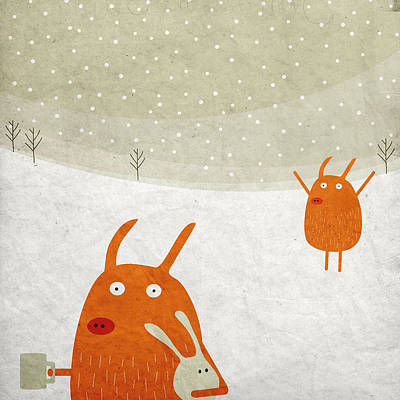 Pig Digital Art - Pigs In The Snow by Fuzzorama