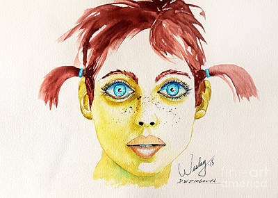 Pigtail Girl Art Print
