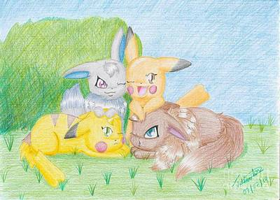 Trudell Drawing - Pikachu And Eevee by Trudell Newton