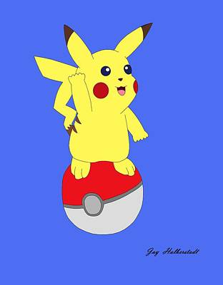 Digital Art - Pikachu by Jayson Halberstadt