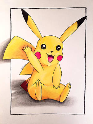 Drawing - Pikachu by Thomas Volpe
