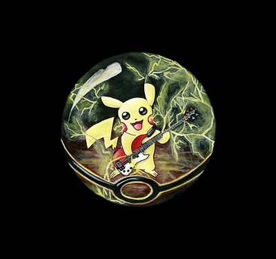 Bassist Painting - Pikachu's Electrocuting Music by Kacey Thorn
