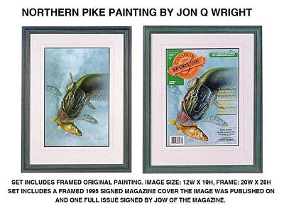 Fishing Painting - Pike And Perch by Jon Q Wright