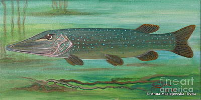 Polonia Art Painting - Pike by Anna Folkartanna Maciejewska-Dyba