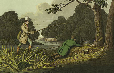 Old Man Fishing Painting - Pike Fishing by Henry Thomas Alken