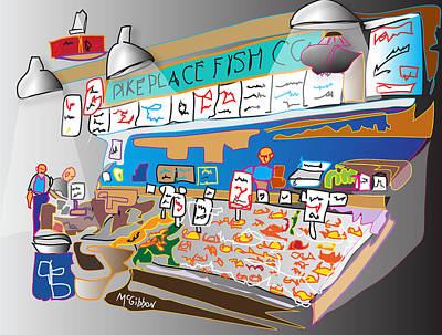 Digital Art - Pike Place Fish Co. by Dan McGibbon