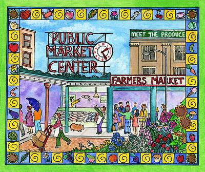 Corwin Painting - Pike Place Market by Pamela  Corwin