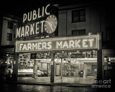 Photograph - Pike Place Public Market Bw by Jerry Fornarotto