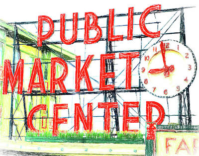 Seattle Drawing - Pike Place Public Market In Seattle by Greg Sigrist