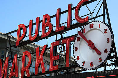 Photograph - Pike Street Market Clock by Peter Simmons