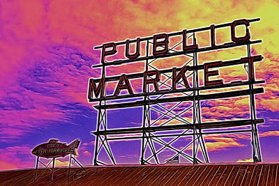 Photograph - Pike's Place Market Sign - Seattle by Allen Beatty