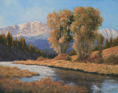 Pikes Peak Painting - Pikes Peak And Cottonwoods 120418-1114 by Kenneth Shanika