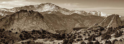Photograph - Pikes Peak And Garden Of The Gods Panorama - Colorado Springs - Sepia Edition by Gregory Ballos