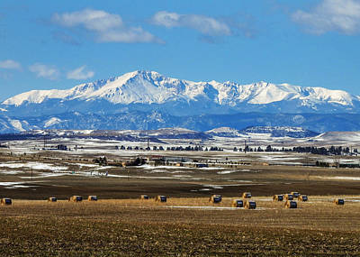 Pikes Peak And Hay Bales Art Print by Dawn Key