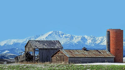 Photograph - Pikes Peak And Old Barn Spring Snow by Dawn Key