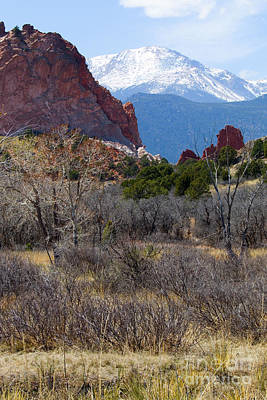 Steven Krull Royalty-Free and Rights-Managed Images - Pikes Peak at Garden of the Gods by Steven Krull