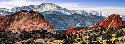 Animal Paintings David Stribbling Royalty Free Images - Pikes Peak Mountain Panorama - Colorado Springs Royalty-Free Image by Gregory Ballos