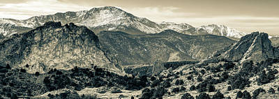 Photograph - Pikes Peak Mountain Panorama - Colorado Springs In Sepia 2 by Gregory Ballos