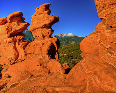 Photograph - Pikes Peak View From Garden Of The Gods by Harry Strharsky