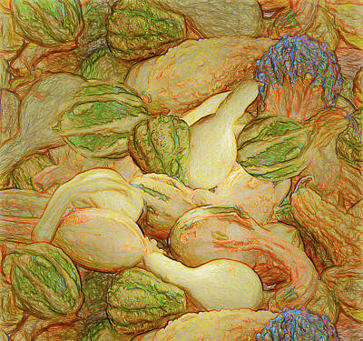 Digital Art - Pile O Gourds Unframed by Leslie Montgomery