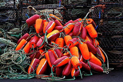 Photograph - Pile Of Crabpots And Fishnet Buoys Orange And Red by Carol Leigh