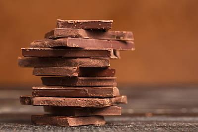 Pile Of Dark Chocolate  Print by Vadim Goodwill