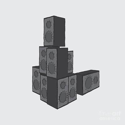 Digital Art - Pile Of Loud Speakers by Benjamin Harte
