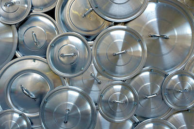 Polished Steel Photograph - Pile Of Pan Caps by Carlos Caetano