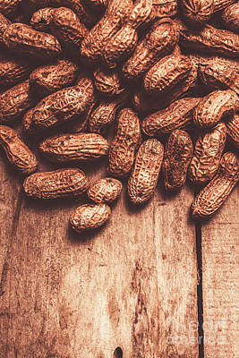 Organic Photograph - Pile Of Peanuts Covering Top Half Of Board by Jorgo Photography - Wall Art Gallery