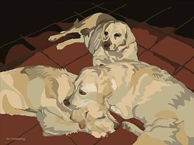 Pile Of Three Pups Art Print by Su Humphrey