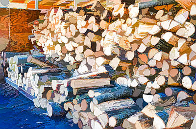Woodpile Painting - Pile Of Wood As Fuel In Place Before Winter by Lanjee Chee