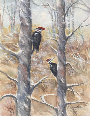 Painting - Pileated Couple by Kerry Kupferschmidt