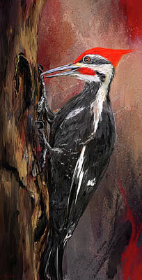 Woodpecker Painting - Pileated Woodpecker Art by Lourry Legarde
