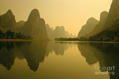 Piled Silk Mountain Reflections Art Print