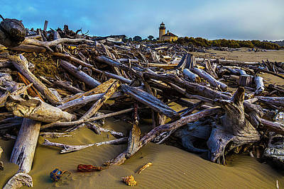 Coquille River Lighthouse Photograph - Piles Of Driftwood by Garry Gay
