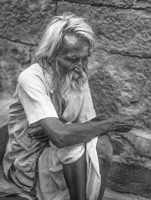 India Religion Photograph - Pilgrim - Such A Long Journey Bw by Steve Harrington