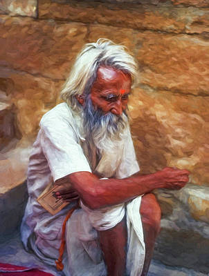 India Religion Photograph - Pilgrim - Such A Long Journey - Paint by Steve Harrington