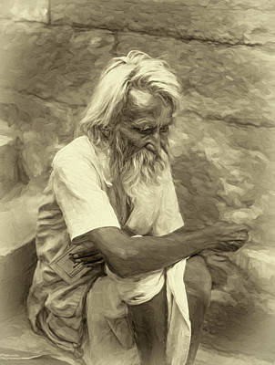 India Religion Photograph - Pilgrim - Such A Long Journey - Sepia by Steve Harrington