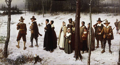 Snowy Day Painting - Pilgrims Going To Church, 1867 by George Henry Boughton