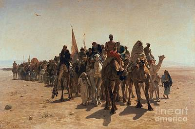 Orientalist Painting - Pilgrims Going To Mecca by Leon Auguste Adolphe Belly