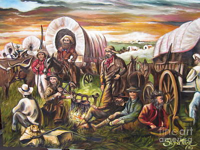 Painting - American    History  Pilgrims On The Plain by Sigrid Tune