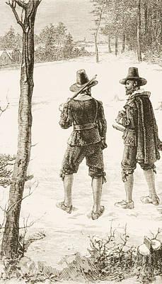 Seventeenth Century Drawing - Pilgrims by Reverend Samuel Manning