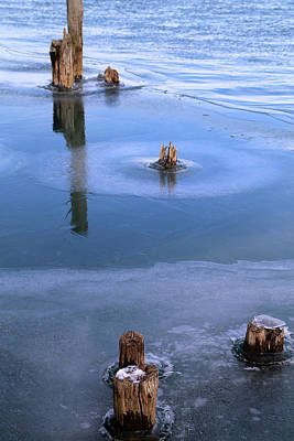 Photograph - Pilings In Ice 2017 2 by Mary Bedy