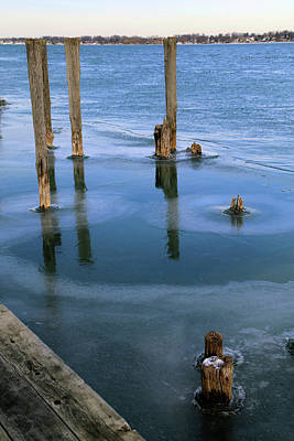 Photograph - Pilings In Ice 2017 3 by Mary Bedy